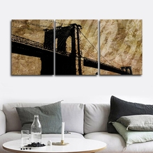 Laeacco 3 Panel London City Bridge Wall Art Posters and Prints Nordic Home Living Room Decor Canvas Calligraphy Painting