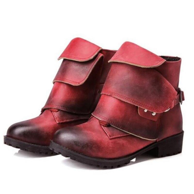 цена на Women Ankle Boots Block Heels Black Wine Red Khaki Punk Martin Boots Fashion Shoes Buckle Winter Boots Ladies Shoes Plus Size 45