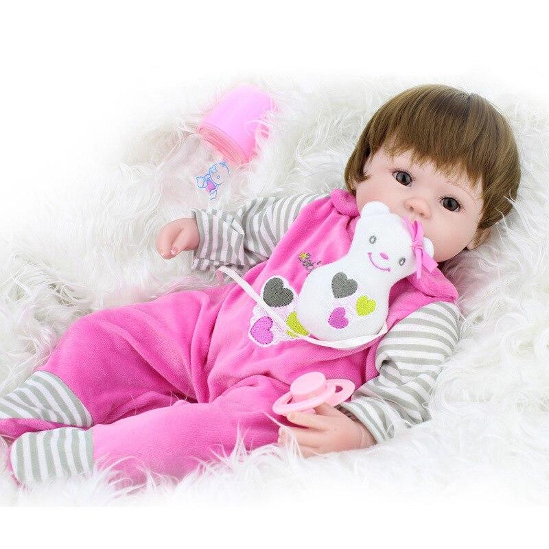 NPK poupée Reborn 45 CM Silicone souple Reborn bébé poupées vinyle jouets grandes poupées pour filles 3-7 ans bébé poupées avec Blouse tissu