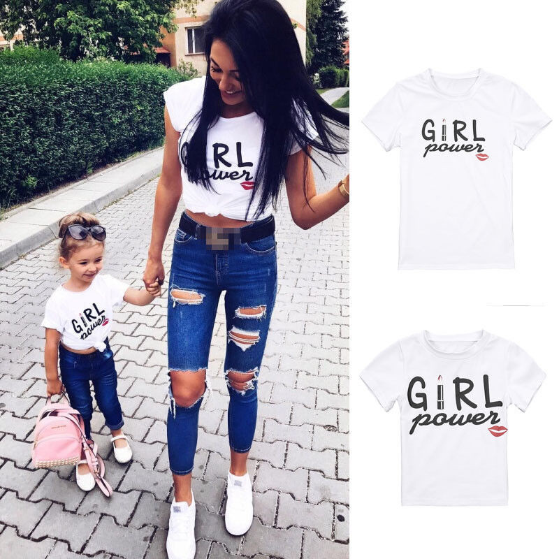 Family Short Sleeve Tops Mother Kids Daughter  Casual T-shirt Matching Outfit