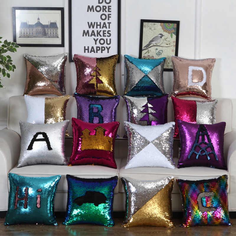 16 видов стилей двусторонние пайетки декоративная наволочка 2017 квадратная подушка с блестками магический меняющий цвет диванные подушки диван, домашний декор