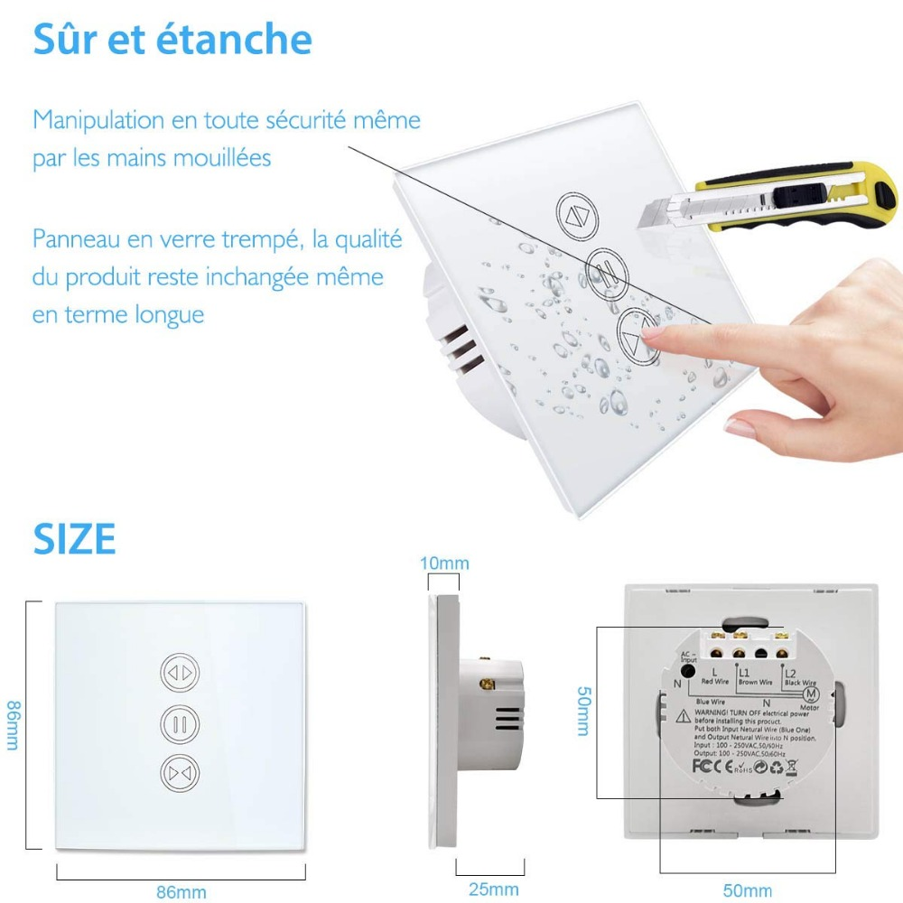 EU WiFI Smart Curtain Switch Google Home Alexa echo Voice Control Electric  Blind Roller Shutter Motor Tuya Smart Life App Timer