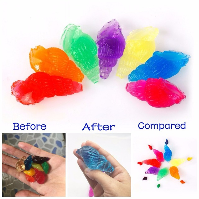 50g/lot Jelly Color Conch Shape Growing Up Water Beads Crystal Soil Wedding/Home Decor Water Balls Children's Toy SJ005