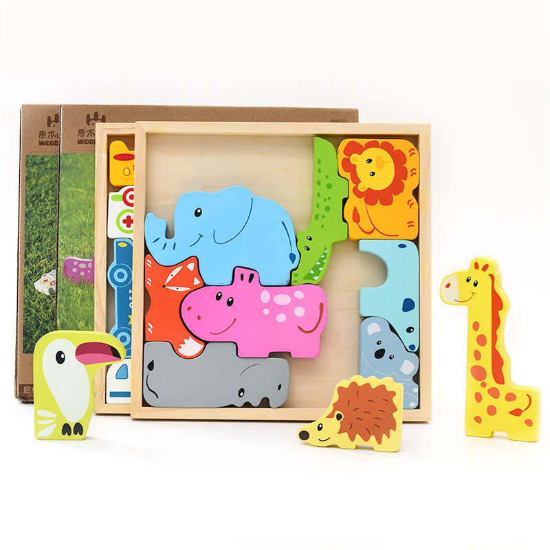 Kids Wooden Montessori Materials 3D Puzzle Animals Clever Board Montessori Wood Educational Toys For Children Baby Teaching Aids