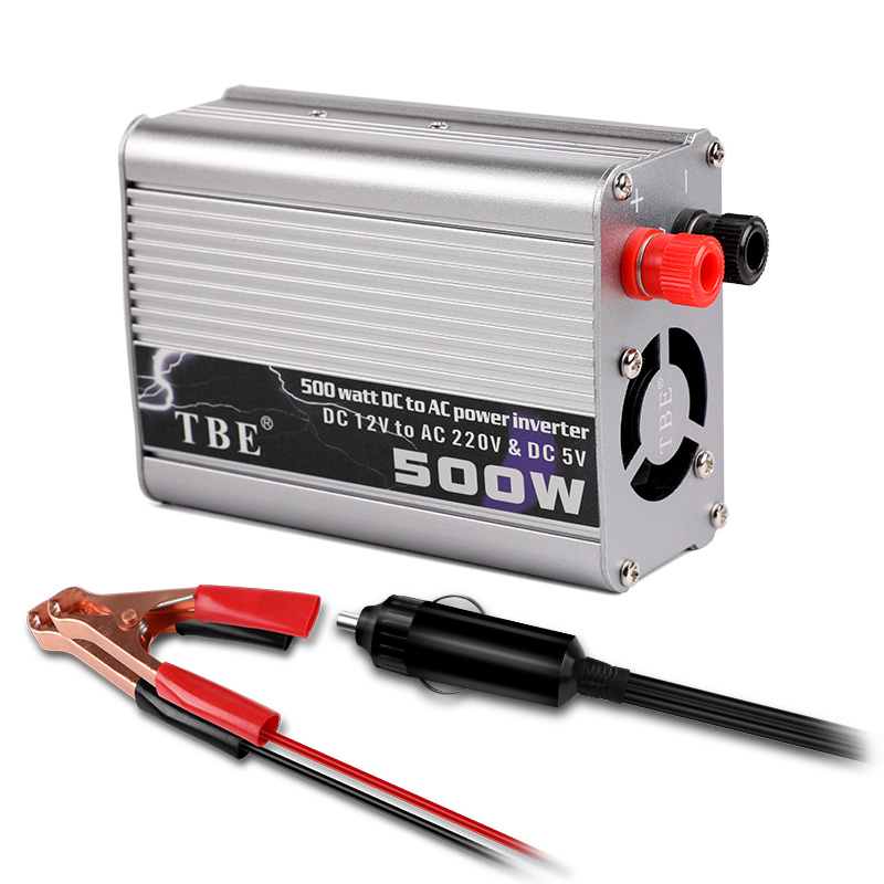 Car Inverter 500W DC 12V to AC 220V 50Hz Auto Inverter 12 220 Cigarette Lighter Plug Power Converter Inverter Peak Power 1000W image