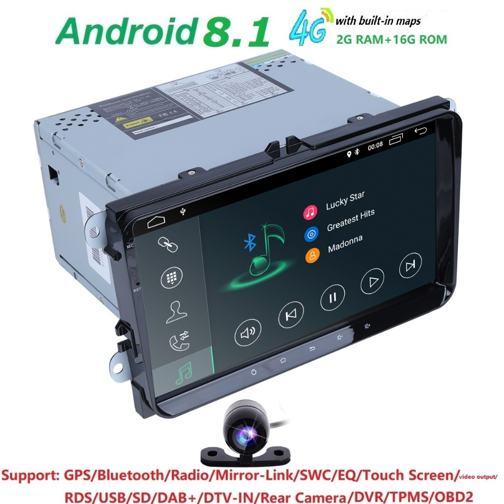 2g + 16g 2 din android8.1 voiture dvd pour v w passat b5 b6 golf 4 5 tiguan polo skoda octavia rapide fabia multimédia lecteur gps 4GWIFI