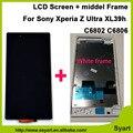 Full Frame Middel bisel + pantalla LCD de pantalla táctil con digitalizador asamblea para sony xperia z ultra xl39h xl39 c6806 c6843 c6833