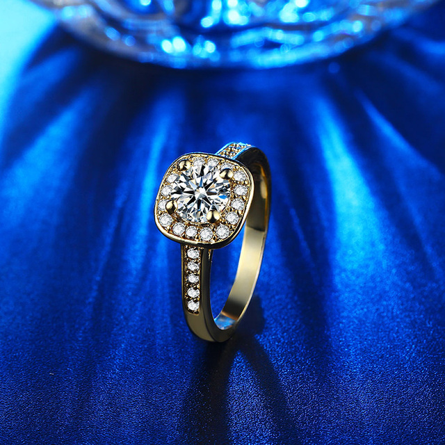 CC Jewelry Fashion Jewelry Rings For Women Luxury Rose Gold Color Square Stone Party Bridal Wedding Engagement Ring Bijoux CC627 6