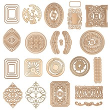 Retro Square Rectangle Oval Round Flowers Layered Frames Borders Metal Cutting Dies for DIY Scrapbooking Cards Crafts 2019 New
