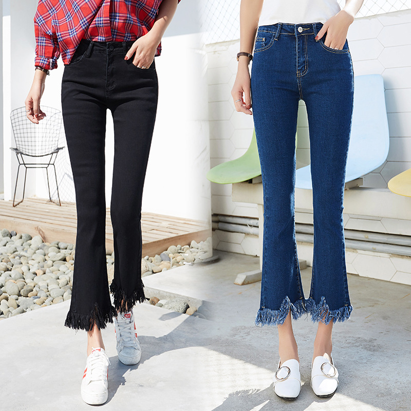 2019 Spring Summer Plus Size High Elastic Waist Stretch Ankle Length   Jeans   for Women Skinny Tassel Frayed Flare Pants