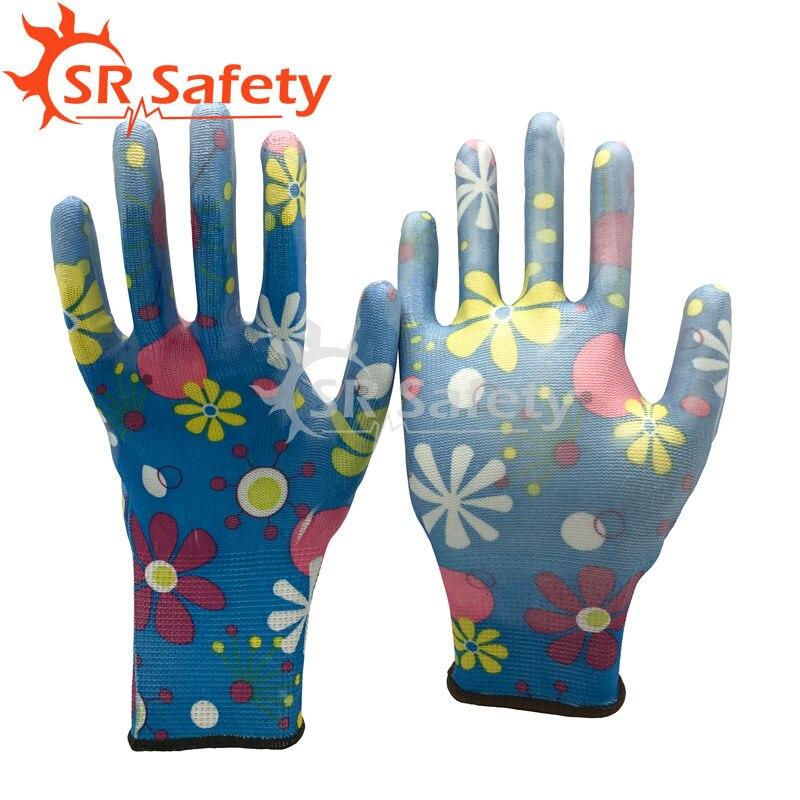SRSAFETY 6 pair Flowers Garden soft PU gloves,Beautiful Working Gloves,Women Used Gardening Glove
