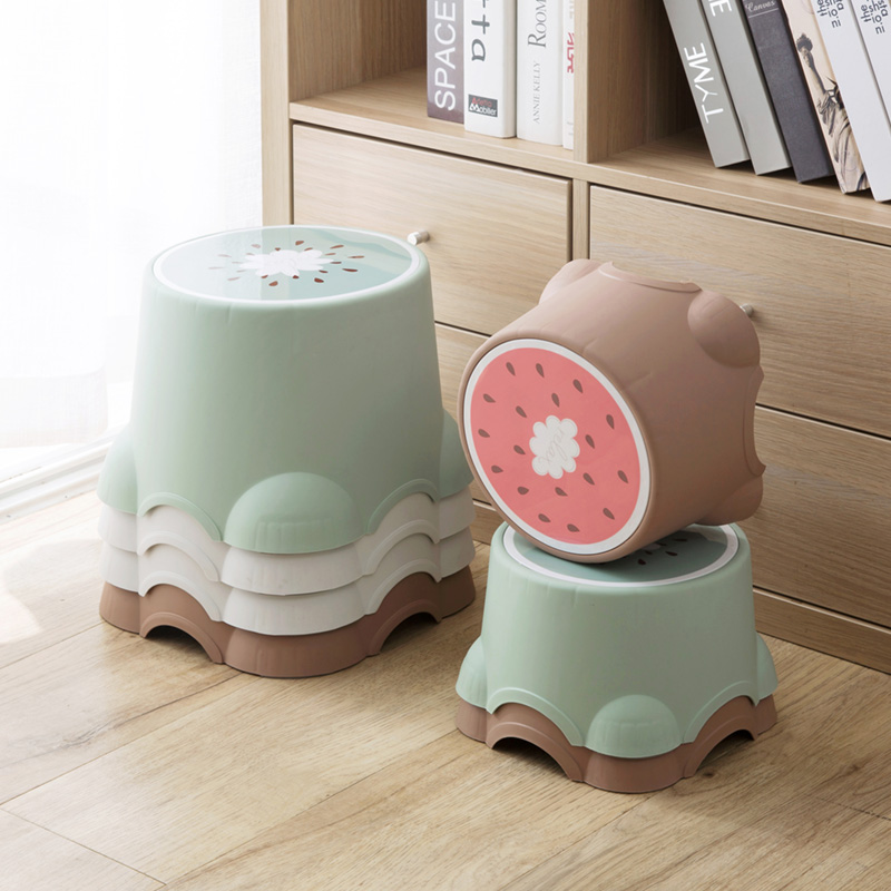 Children's Day Gift Thicken Lovely Stools Fruit Pattern Living Room Non-slip Bath Bench Child Stool Changing Shoes Stool
