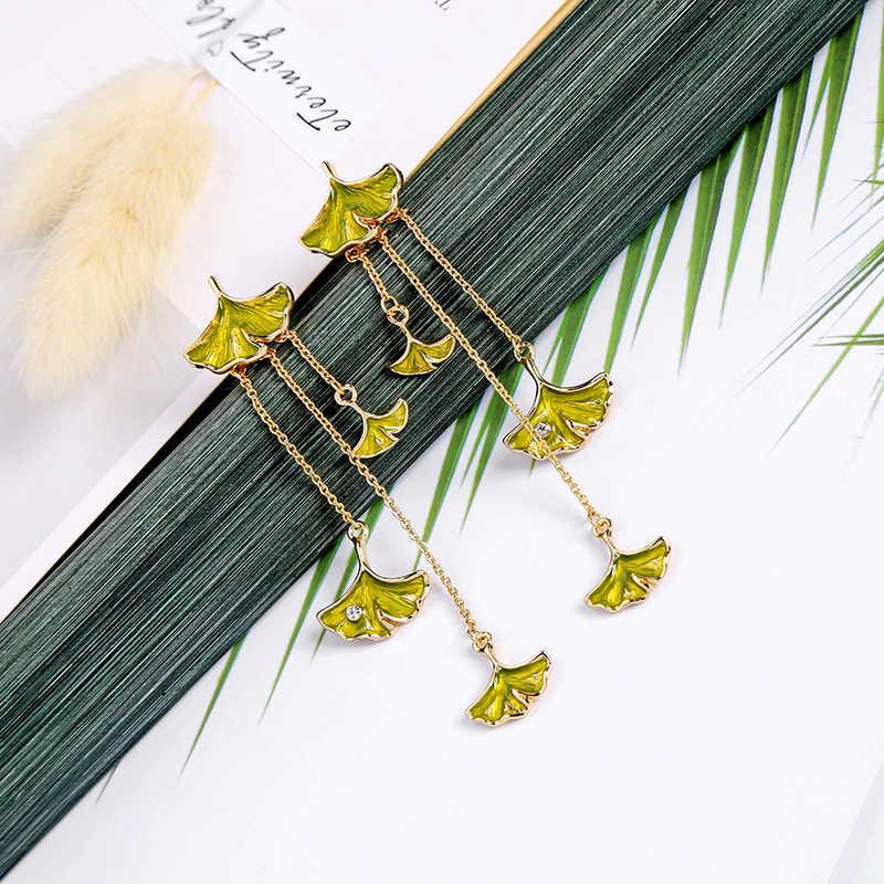 ธรรมชาติแปะก๊วย Leaf Drop ต่างหูคริสตัลเปิดแหวนผู้หญิงฤดูร้อนใหม่แฟชั่นชุดเครื่องประดับ