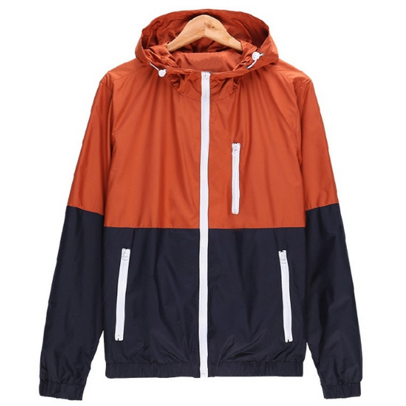 Men's Contrast Color Windbreakers Spring Autumn Sports Style Jackets Casual Loose Hooded Coats M 3xl