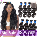 Peruvian Virgin Hair With Closure 8A Peruvian Body Wave With Closure 100% Unprocessed Human Hair Bundles With Lace Closures