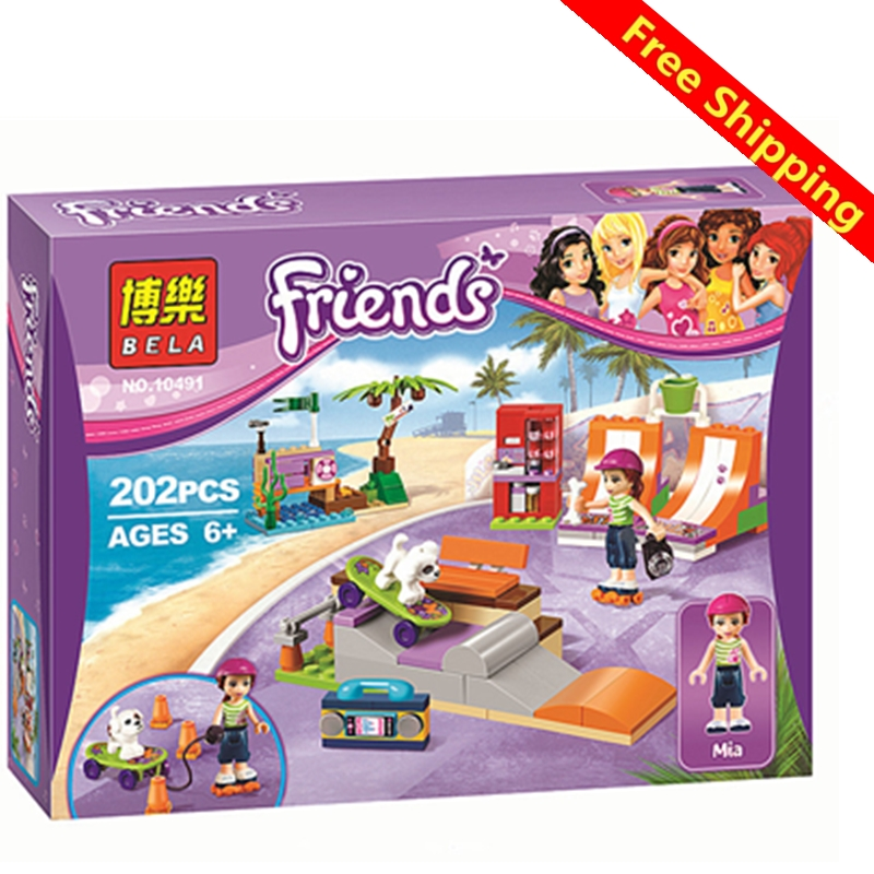 2017 Bela 10491 New Friends series the Heartlakes Skate Park Building Blocks set Compatible with legoingly Friends Girls s Toys 2016 bela 10497 10496 10493 girls friends city park cafe building blocks set figures bricks toys 41119