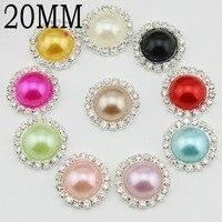 20mm Colourful Round Metal Rhinestone Pearl Button Flat Back Wedding Embellishment Hair Bow Headband DIY