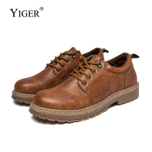YIGER New Men Tooling shoes Man Martins Retro casual booties male trend British joker leather lace-up men 0303