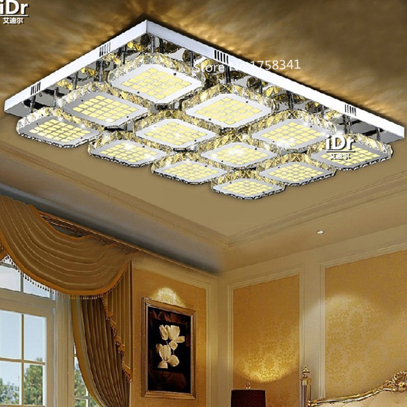Crystal lamp rectangular stainless steel square modern minimalist living room lamp remote control LED ceiling lights