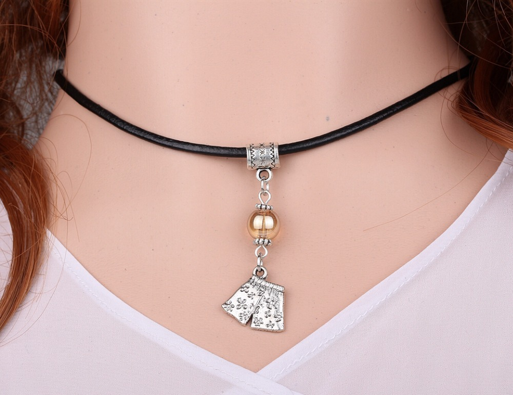 Underpants &Glass Bead Charms Vintage Silver Choker Collar ...