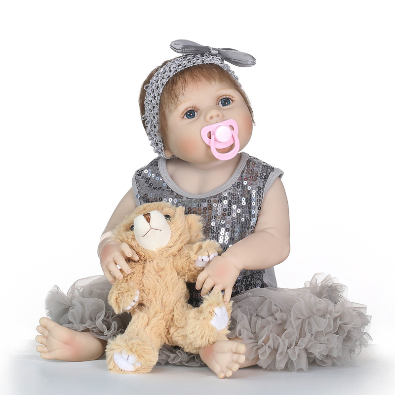 Nicery 22inch 55cm Bebe Reborn Doll Hard Silicone Boy Girl Toy Reborn Baby Doll Gift for Children Gray Yarn Skirt Brown BearNicery 22inch 55cm Bebe Reborn Doll Hard Silicone Boy Girl Toy Reborn Baby Doll Gift for Children Gray Yarn Skirt Brown Bear