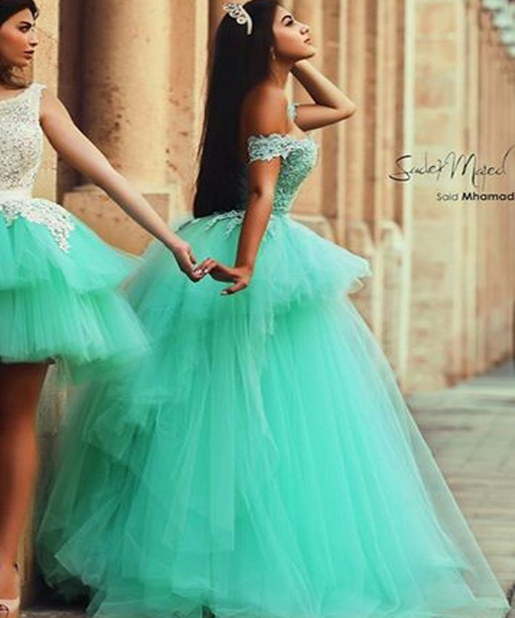 CYF28 Middle East Off the shoulder Lace Prom Dresses 2016 Mint Green Puffy Ball Gown Evening