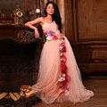 Великолепный Розовый Пром Платья с Цветами Красочные Женщины Формальное Вечернее Платье Платье-де-Феста Халат де Вечер Longue