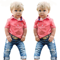 RT-213  Retail 2017 Fashion boy clothes boys summer new cotton T-shirt + jeans denim shorts 2 pcs. baby clothes set for boys