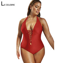 f0fab24ee3b1f Sbluee Red 2018 Women Sexy One Piece Swimsuit Swimwear Large Plus Size  Monokini Beach Bathing Suit Female Bather Bodysuit May