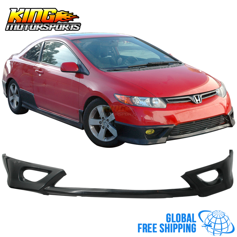 Fit For 06 07 08 Honda Civic 2DR Front Bumper Lip Black Polyurethane Global Free Shipping Worldwide