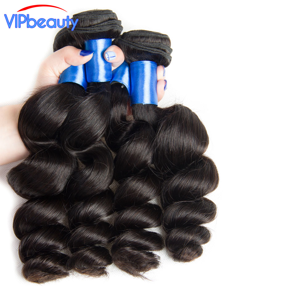 VIP beauty Peruvian loose wave hair weave bundles 100% human hair extension 10-28inch remy hair 3 bundles/lot