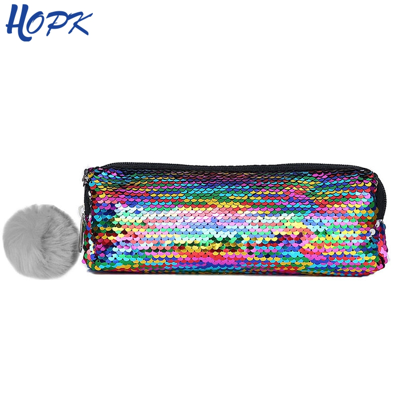 Sequin Hairball Cute Pencil Case For Girls Bts Stationery School Gift Pencil Box Kawaii Pencil Bag School Student Supplies new leather pencil case bag for school boys girls vintage pencil case box stationery products supplies as gift for student