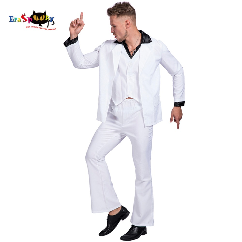 Retro Night Fever Dancer 80s Disco Dance Costume Men Fancy Dress Club Clothes Halloween Costume Adult Vintage Performance Outfit