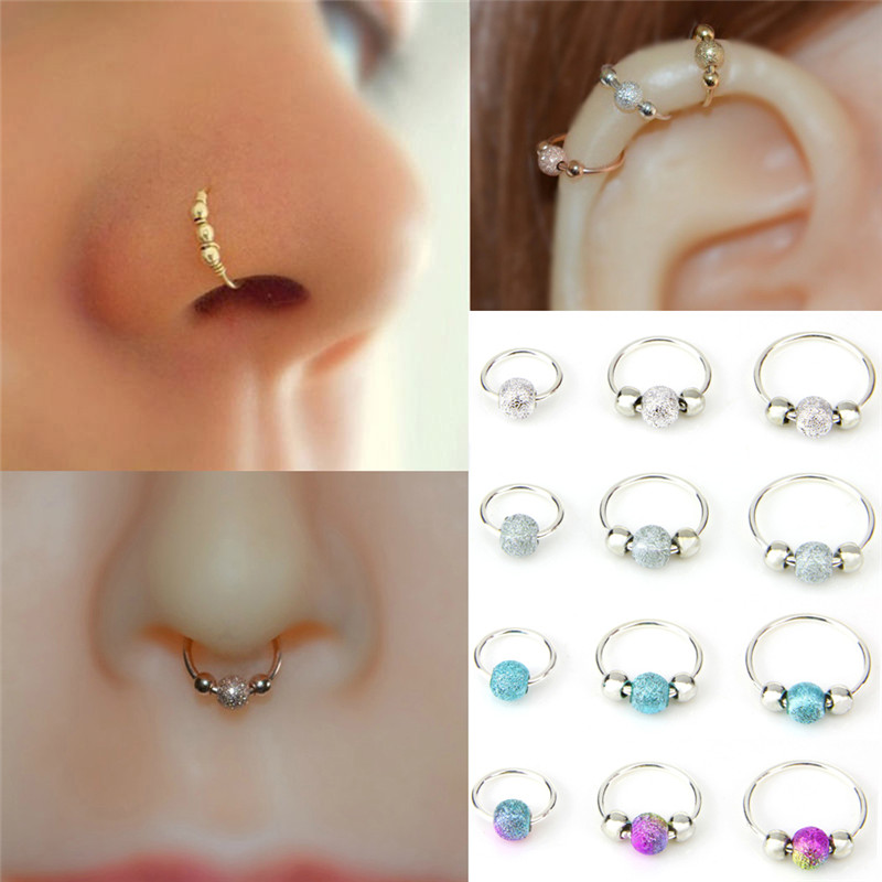 Fashion 1Pc High Quality Nostril Hoop Nose Ring Nose Earring Piercing Hiphop Body Piercing Jewelry 6/8/10mm