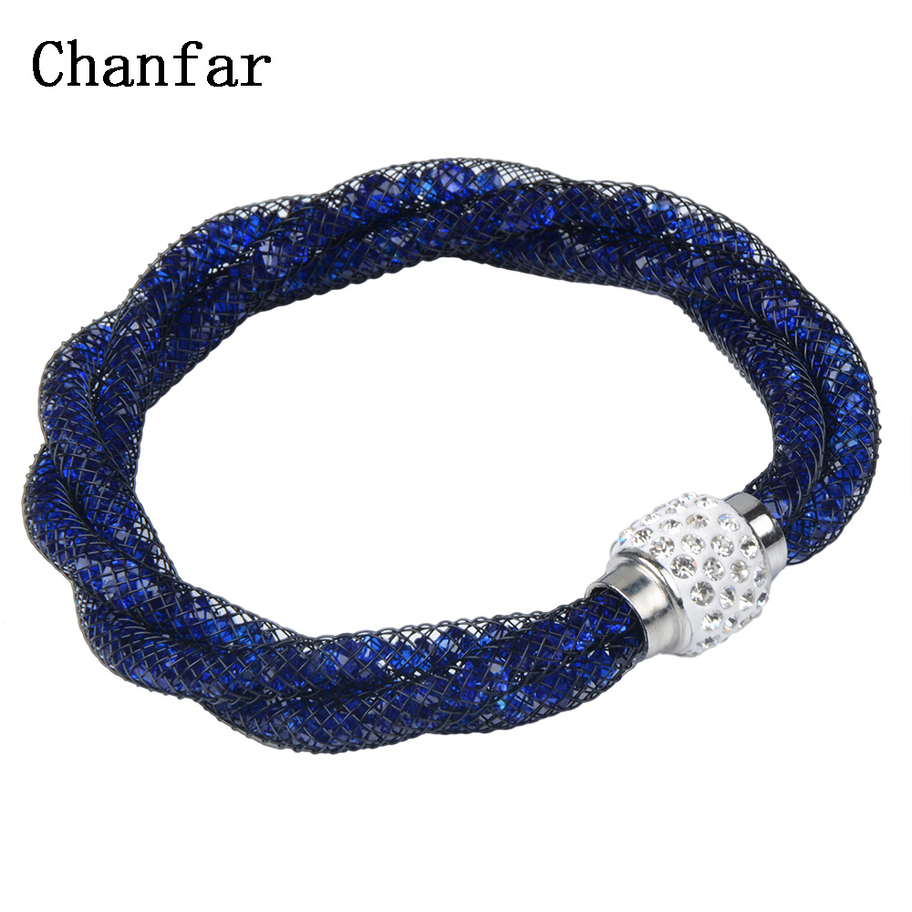 fashion 3 tube braided mesh bracelet with magnetic crystal ball women
