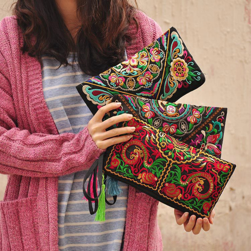 2019 New Women Fashion Ethnic Embroidery Wallet Flower Decal  Coins Purse Bags Long Cotton Handbag Clutch Party Evening Bag