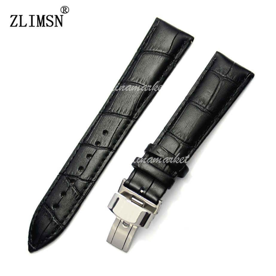 100% Genuine Leather HQ Black with Black line Watch Band Strap Gift Promotion Watchbands