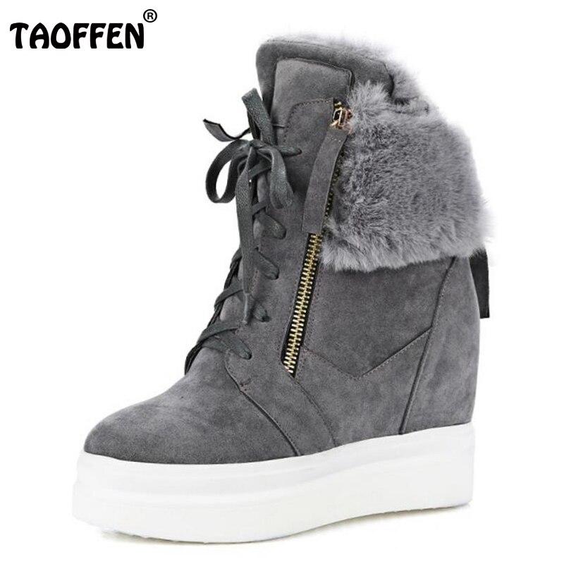 TAOFFEN Size 33-42 Women Half Short Wedges Boots Zipper Warm Fur Snow Boots Inside Heel Winter Shoes Short Botas Women Footwear