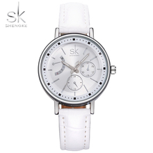 SK Brand Women Dress Watches Montre Femme Leather Strap Fashion Quartz Watch Analog Wristwatches Ladies Hours 2017 Reloj Dama