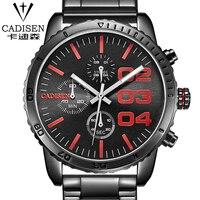 Marka yeni cadisen chronograph 24 saat siyah kırmızı dial paslanmaz çelik band erkekler açık spor İzle erkekler İzle relogio masculino