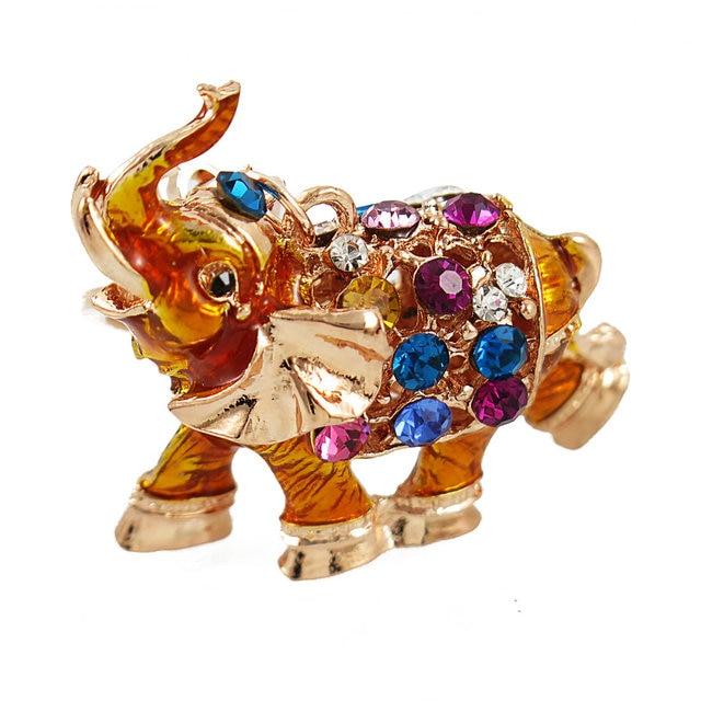 Di Cristallo colorato Portachiavi 3D Fortunato Elefante di Buon Auspicio Portachiavi Borsa Dello Smalto Del Pendente di Fascino per Le Donne Auto Portachiavi Gioielli