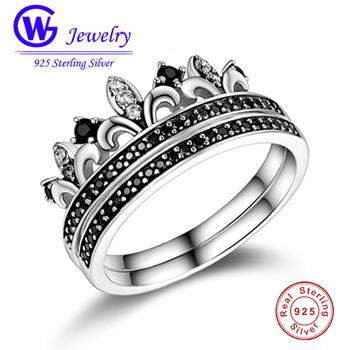 Pierścionek ze srebra próby 925 pierścionek w kształcie korony księżniczki z czarnym jasnym kryształem podwójny pierścionek z brylantem biżuteria pierścionek zaręczynowy w stylu etnicznym tanie i dobre opinie SILVER 925 sterling Unisex KOCIE OKO NGTC Drobne Z wystającym oczkiem CYRKON Pierścionki RIPY085-6 CROWN Etniczne Zestawy ślubne