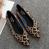 Flats Women Shoes Black Red Leopard Fashion Kinitting Soft Shoes Patchwork Casual Office Sexy Ladies Shoe Slip On Women Footwear