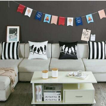 45x45 50x50 60x60cm Nordic double side black white birds velvet cushion cover Office striped pillowcase sofa
