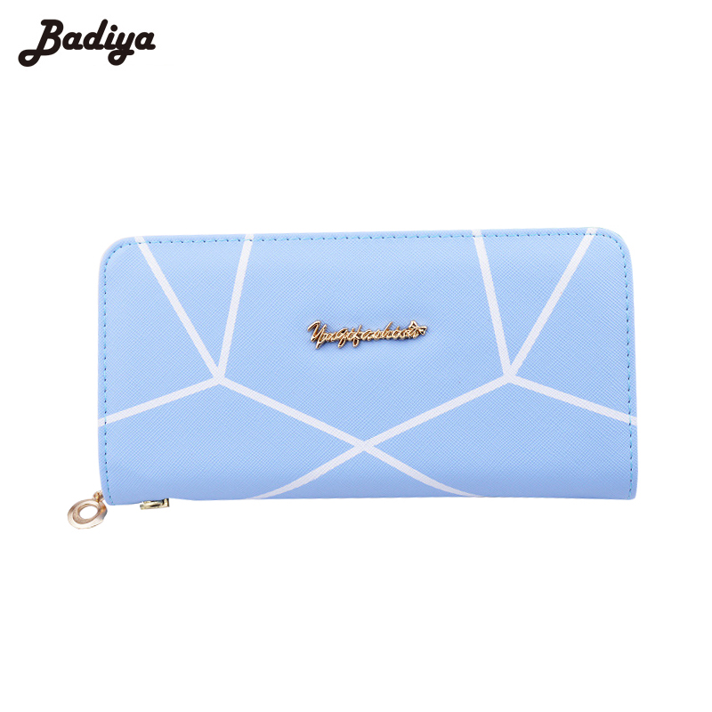 Long Style Zipper Wallet Ladies Candy Color PU Leather Purse with Wrist Strap Credit Card Holders Clutch Wallets