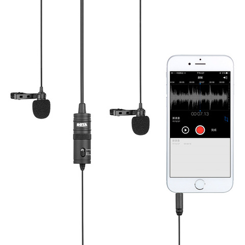 BOYA BY-M1DM Dual Omnidirectional Lavalier Microphone Clip-on Lapel Mic for Iphone Smartphones Cameras Camcorders Audio Recorder Multan
