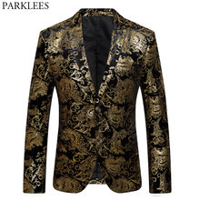 Mens Gold Paisley Floral Bronzing Velvet Dress Blazers 2018 Luxury Brand Slim Fit Suit Jacket Men Wedding Banquet Custom Homme(China)