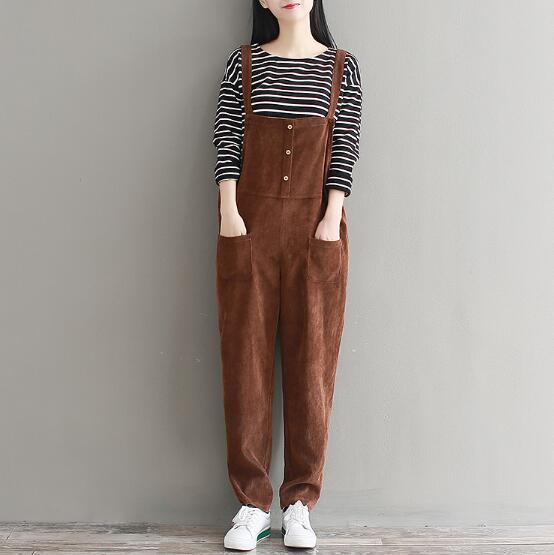 ad580127ce9 Plus Size Womens Suspenders Corduroy Jumpsuit 2018 Spring Autumn Jumpsuits  Women Pure Color Trousers Overalls for Female AAV1-in Jumpsuits from Women s  ...