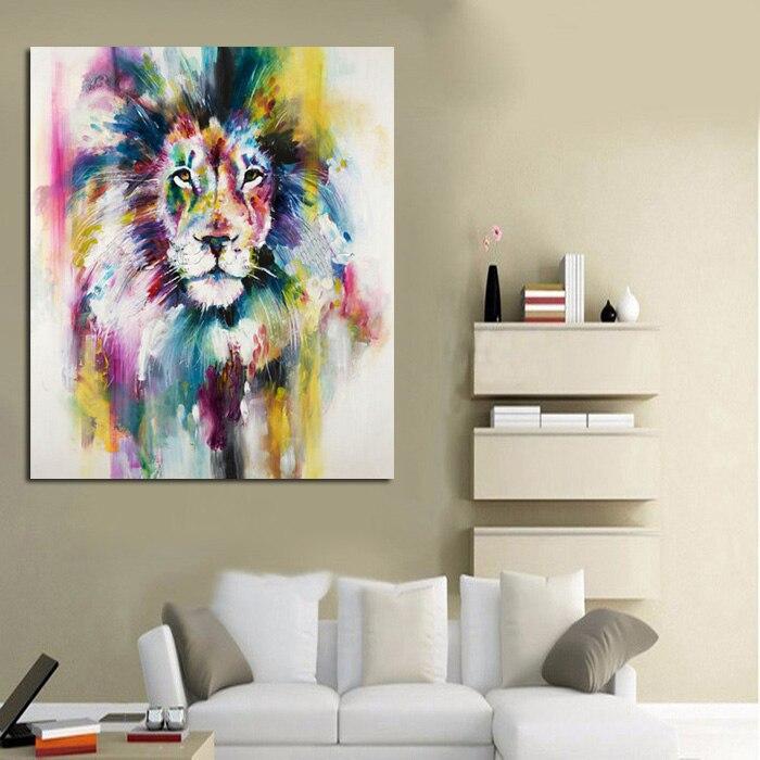 No enmarcado 1 panel moderno animal León rey pintura al óleo sobre ...