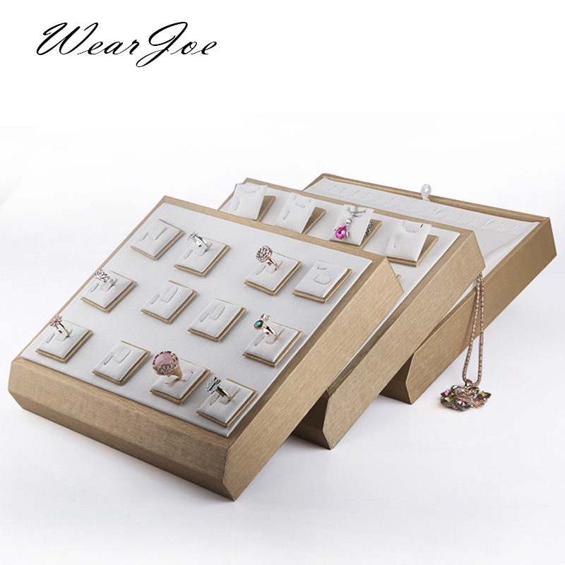 Quality Wooden Jewelry Display Trays PU Leather Stackable Rings Earrings Pendant Necklace Stand Holder Organizer Multi-PurposeQuality Wooden Jewelry Display Trays PU Leather Stackable Rings Earrings Pendant Necklace Stand Holder Organizer Multi-Purpose